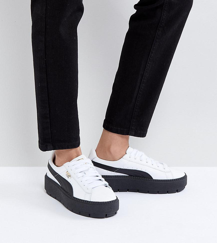 a55a6d910c7 PUMA Platform Trace Trainers In White Black With Gum Sole in Black ...