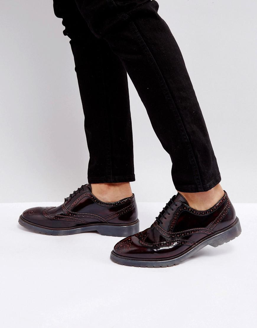 ASOS Lace Up Derby Shoes In Burgundy Perforated Leather With Ribbed Sole OXDueCy