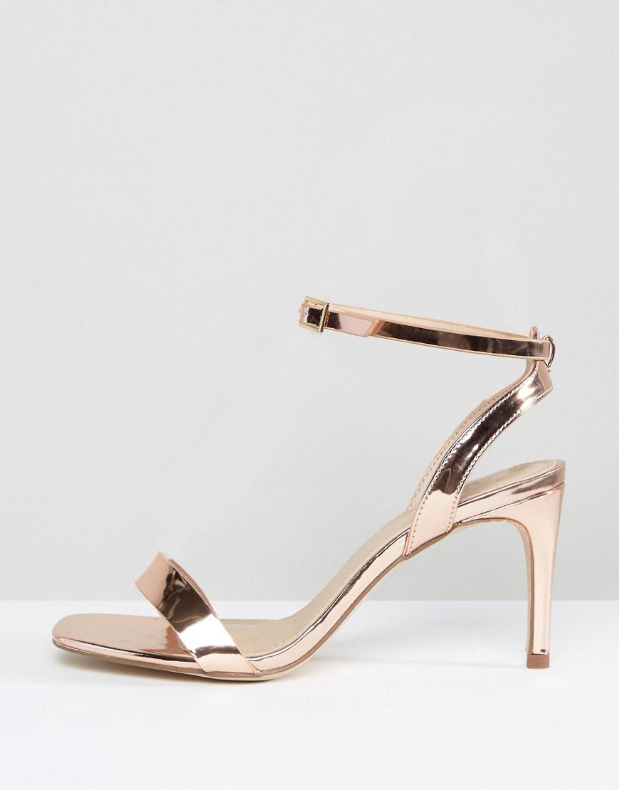 e856d11951cb6 ASOS Asos Hideaway Wide Fit Heeled Sandals in Natural - Lyst