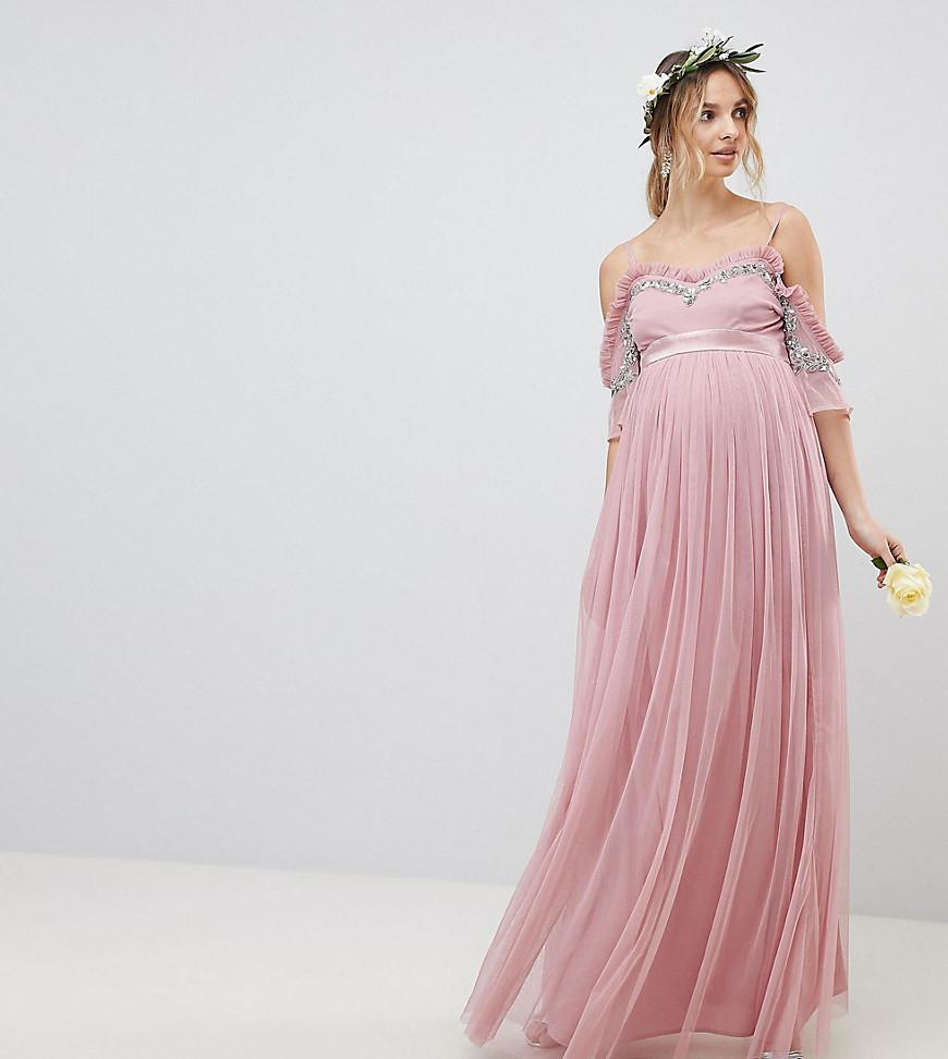 9e2ea3c3226c5 Maya Maternity. Women's Pink Cold Shoulder Sequin Detail Tulle Maxi Dress  With Ruffle Detail