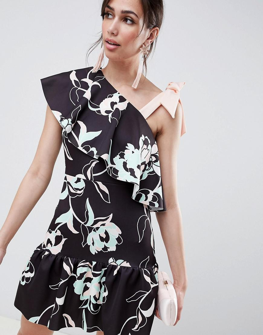 3b2994545b2 ASOS. Women's Floral One Shoulder Ruffle Mini Dress With Bow Detail
