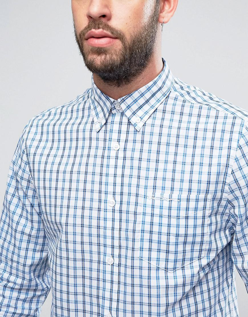 Lyst Ben Sherman Regular Fit Checked Shirt In White For Men