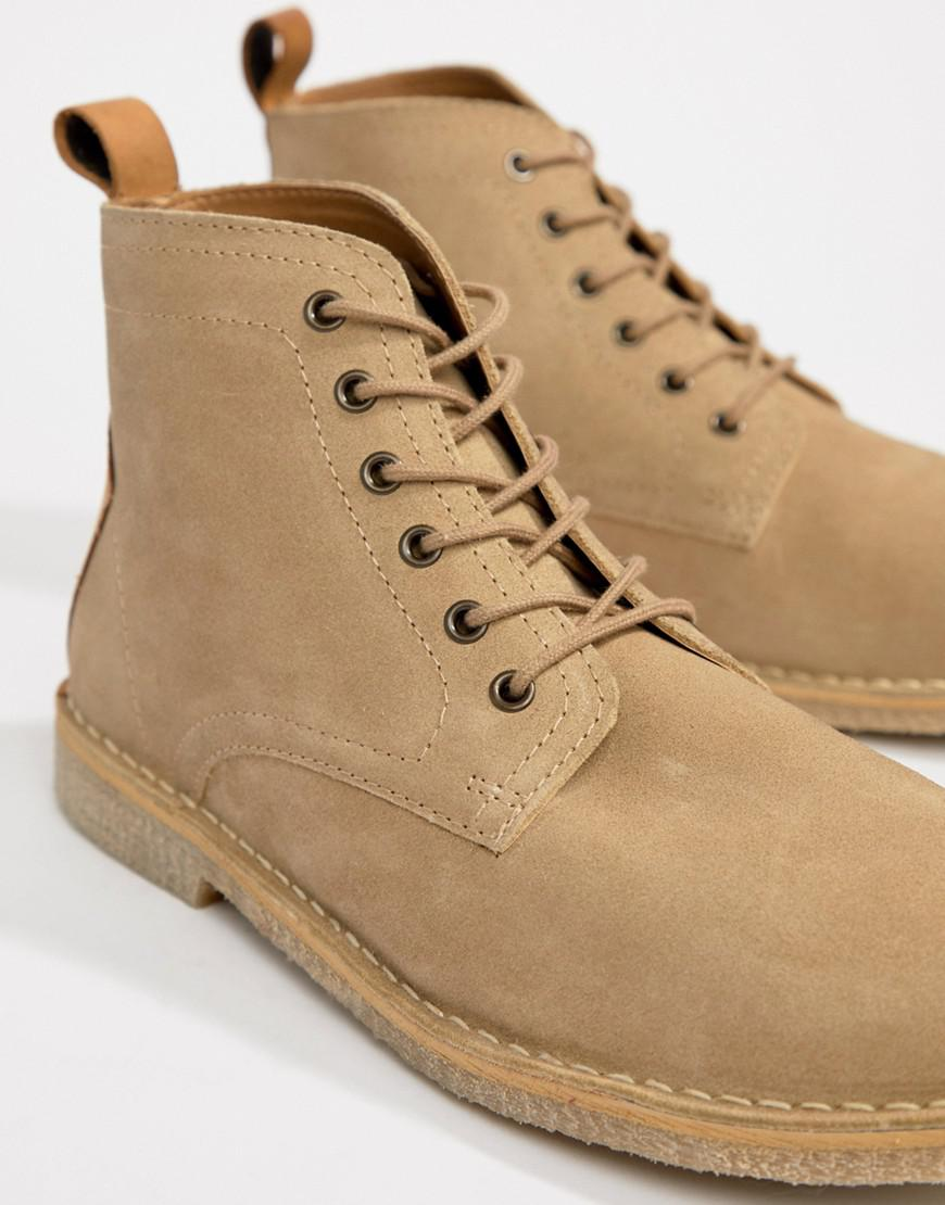 ASOS Wide Fit Desert Boots In Stone