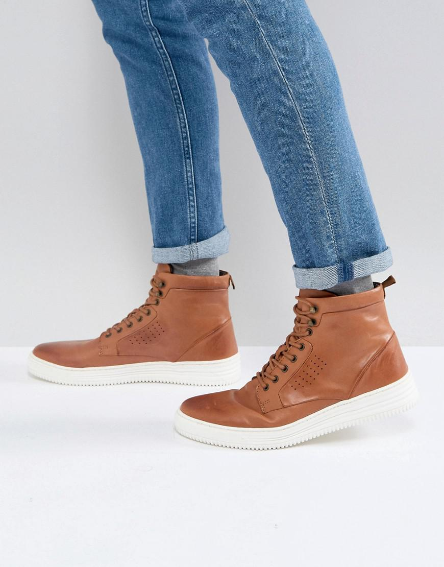 uk availability catch wide varieties Asos Lace Up Boots In Tan Leather With White Sole
