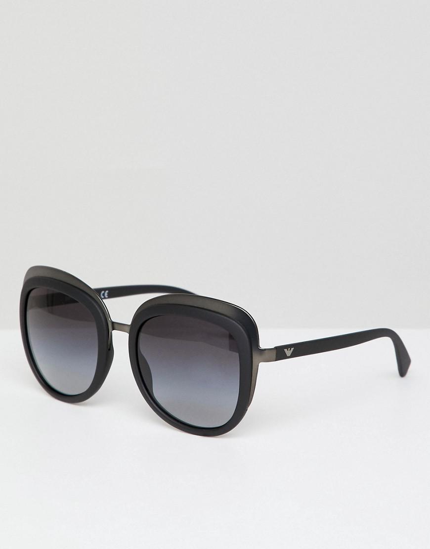 3c2de854538 Lyst - Emporio Armani Oversized Round Sunglasses In Black 53mm in ...