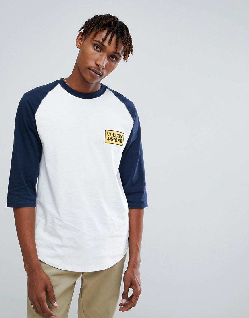Wreckler 3/4 Sleeve T-Shirt With Logo - White Volcom Outlet Professional Very Cheap For Sale JhRhz