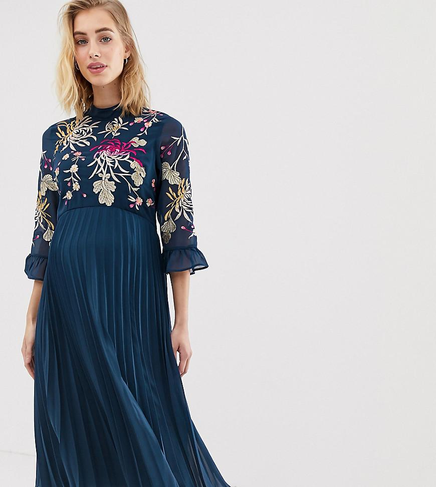 a74e3f498d ASOS. Women s Blue Asos Design Maternity Embroidered Pleated Midi Dress ...
