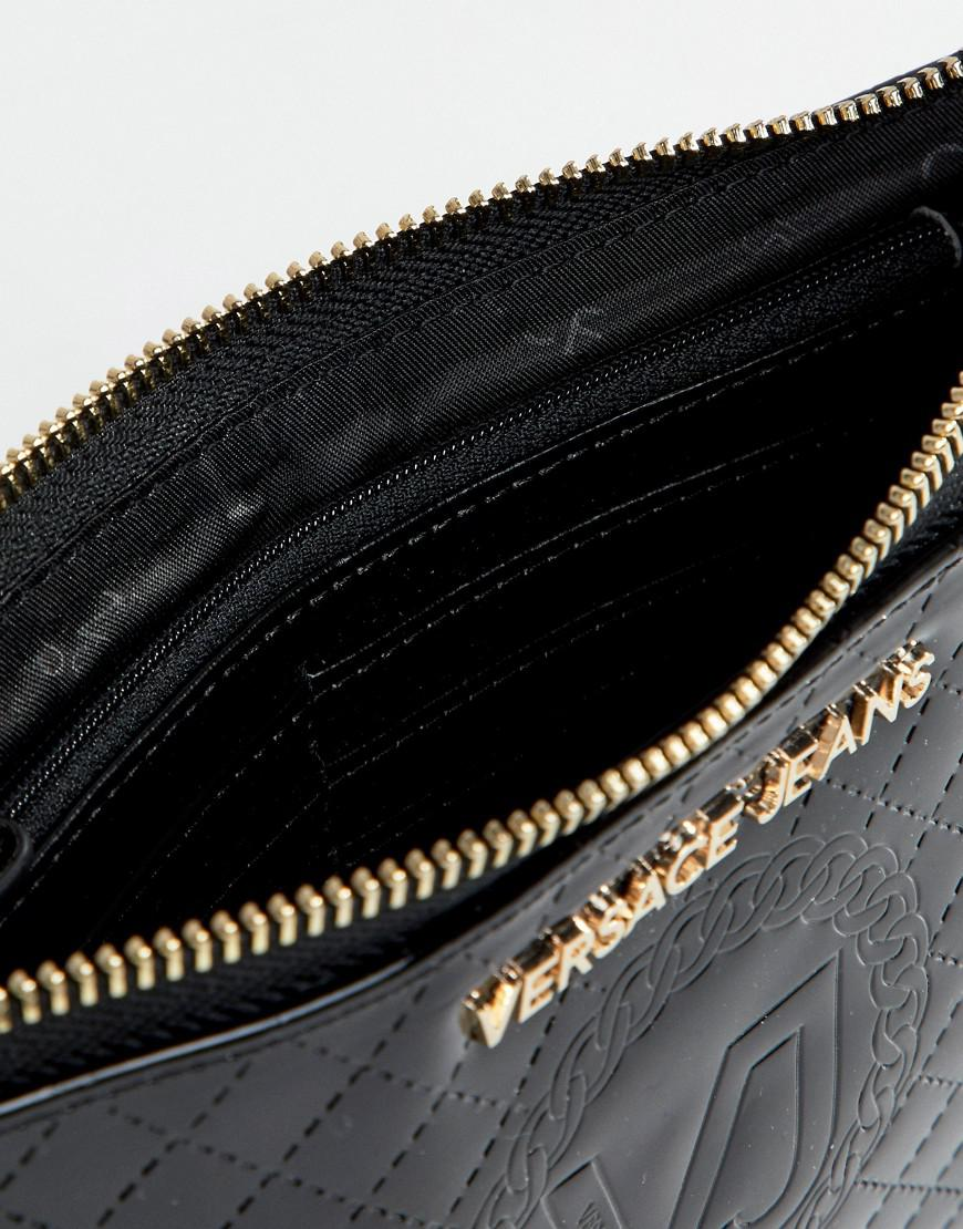Versace Denim Jeans Quilted Crossbody Going Out Purse in Black