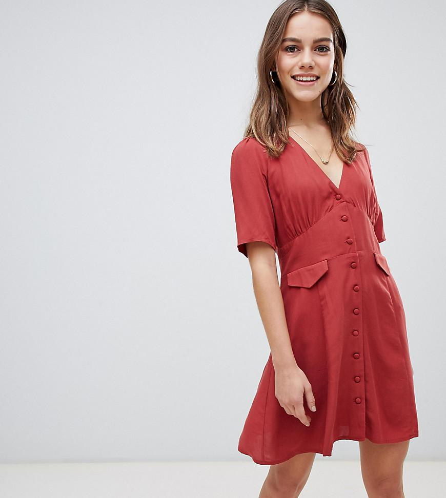 a87cc59d2e ASOS. Women s Orange Asos Design Petite Button Through Mini Skater Dress ...