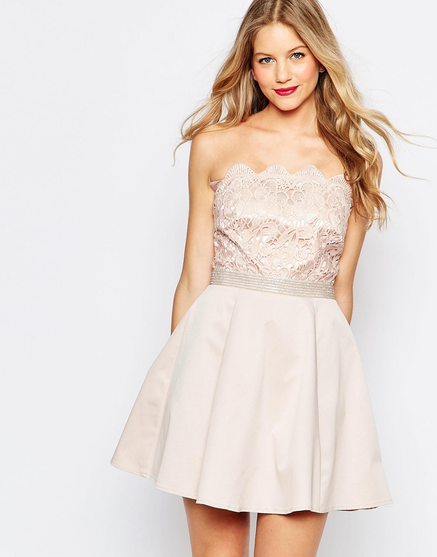 Lipsy Bandeau Mini Prom Dress in Natural | Lyst