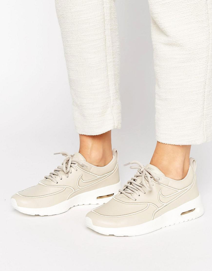 buy popular eec82 e72cc Nike Leather Air Max Thea Ultra Premium Trainers In Beige in ...