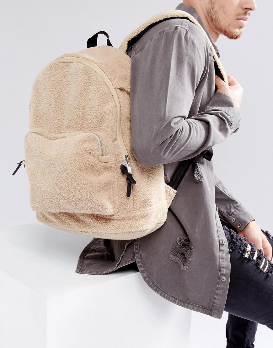ASOS Synthetic Backpack In Cream Borg in Natural for Men