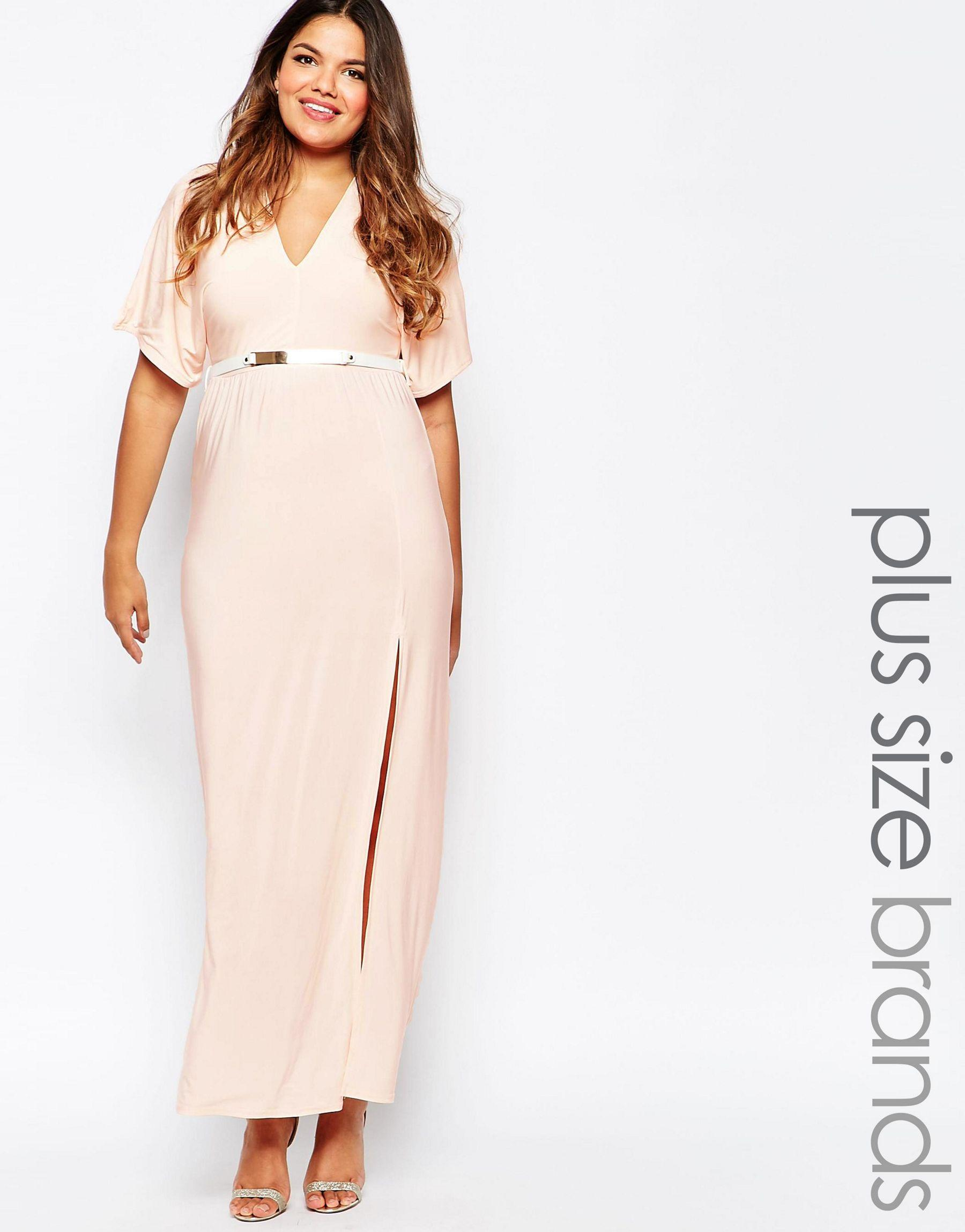 Plus Size Belted Maxi Dress With Kimono Sleeves And Side Split