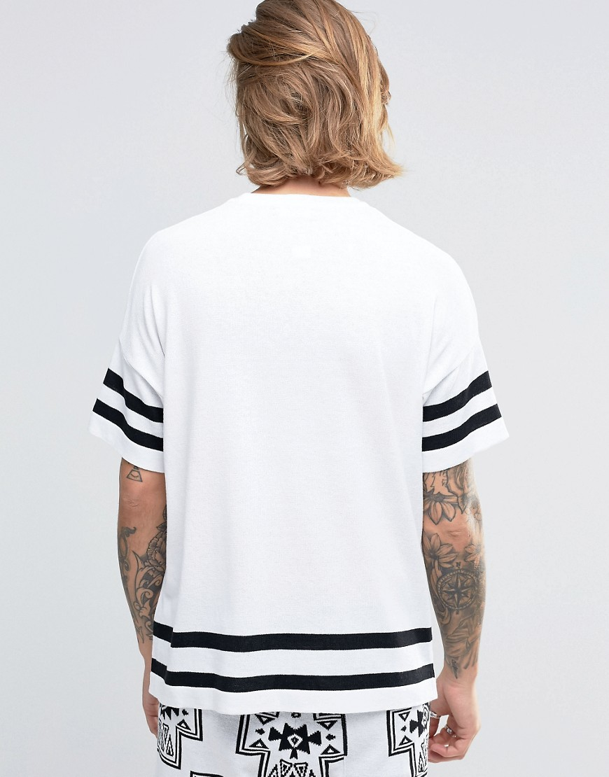 Lyst asos knitted t shirt with aztec design in white for men for Asos design free t shirt