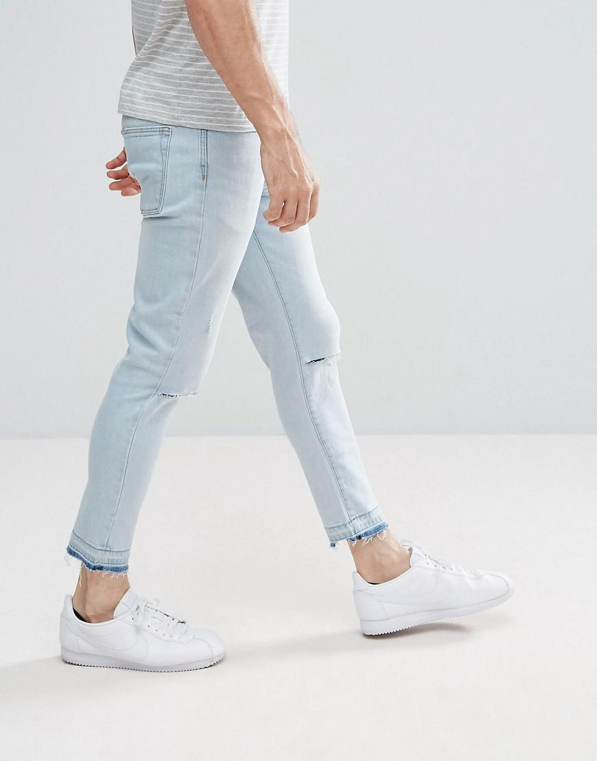 Stradivarius Denim Slim Jeans With Knee Rips In Light Wash in Blue for Men