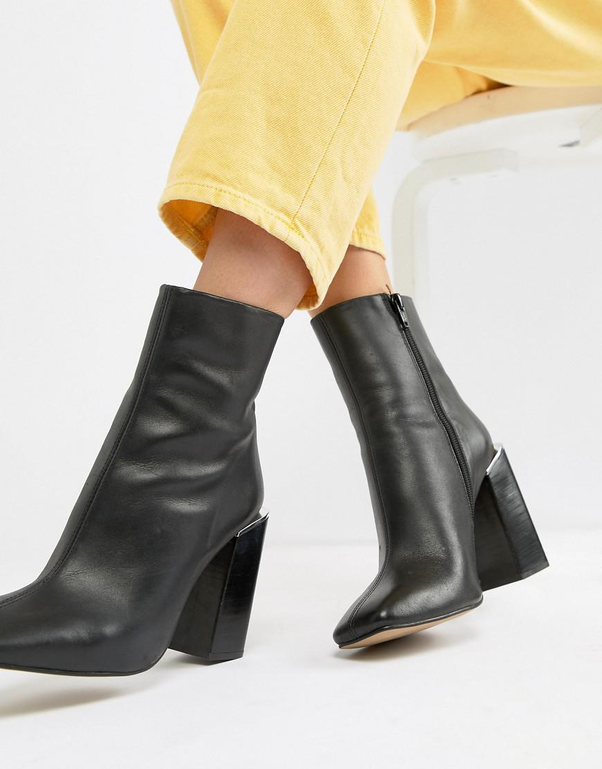 a5240d052990 Lyst - ASOS Verity Leather Heeled Ankle Boots in Black