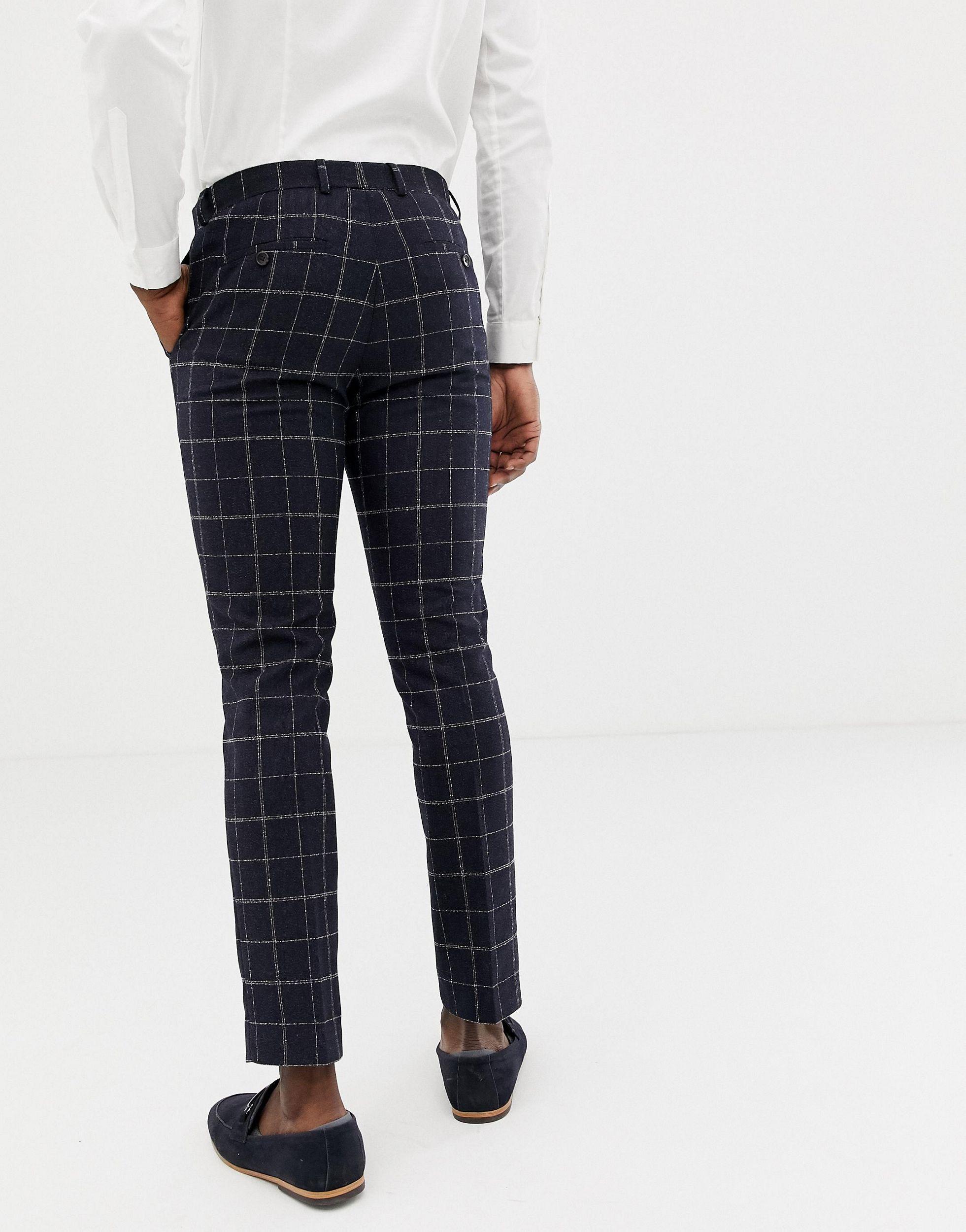 Moss Bros Synthetisch Moss London - Skinny Geplooide Pantalon Met Ruiten in het Blauw voor heren