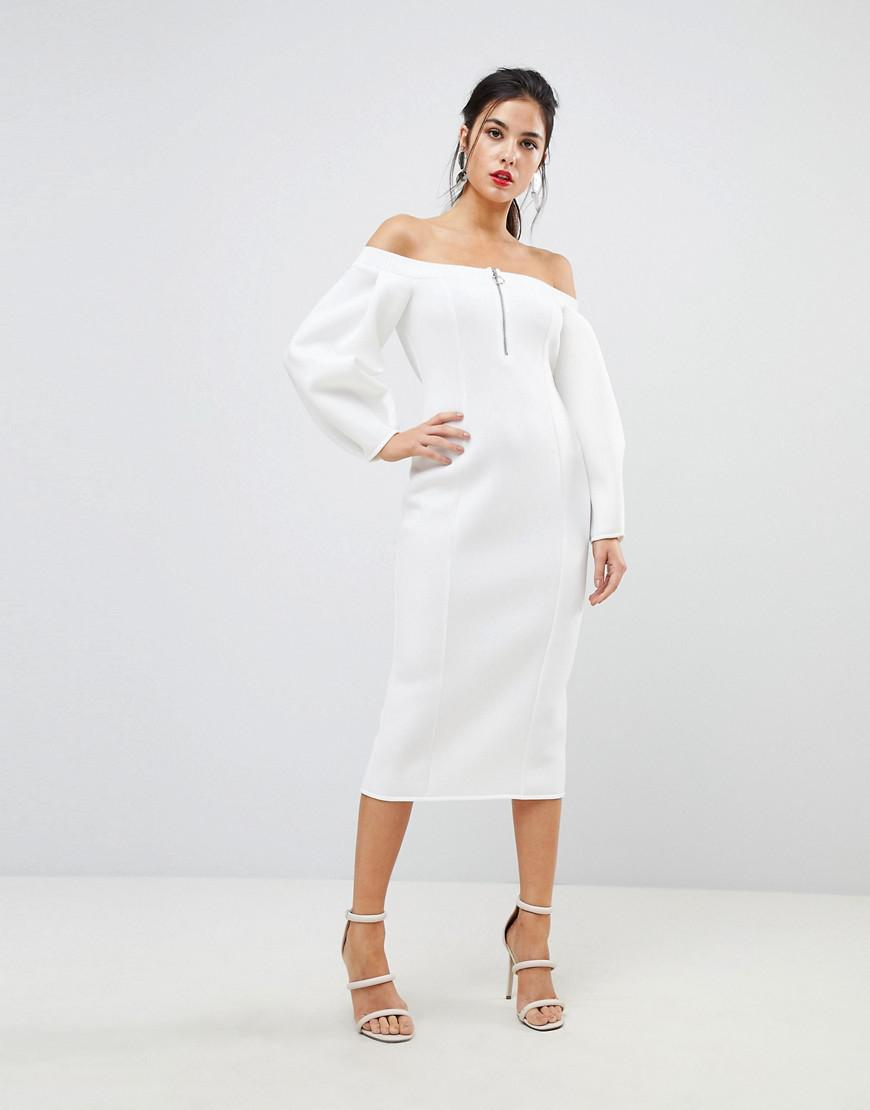 4456cef326d ASOS Asos Premium Off Shoulder Midi Dress With Zip Front in White - Lyst