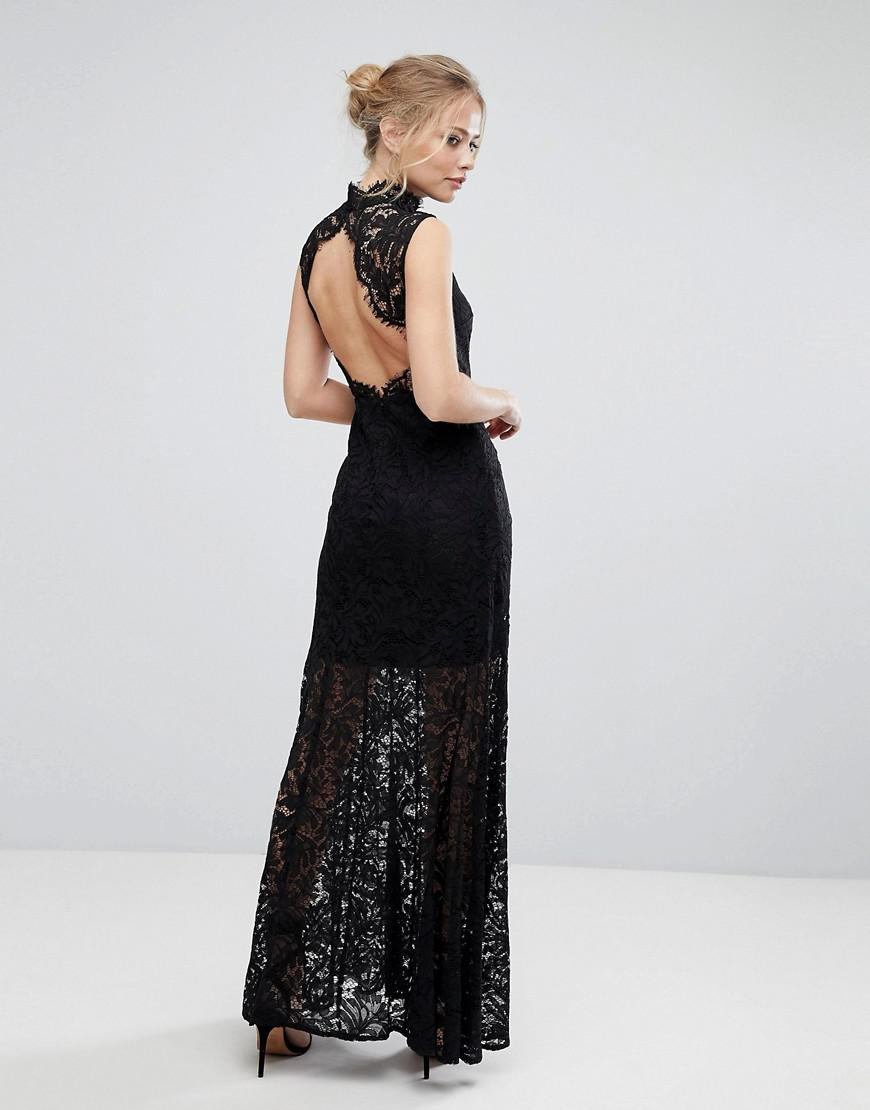 Lace High Neck Maxi Dress With Open Back And Front Slit