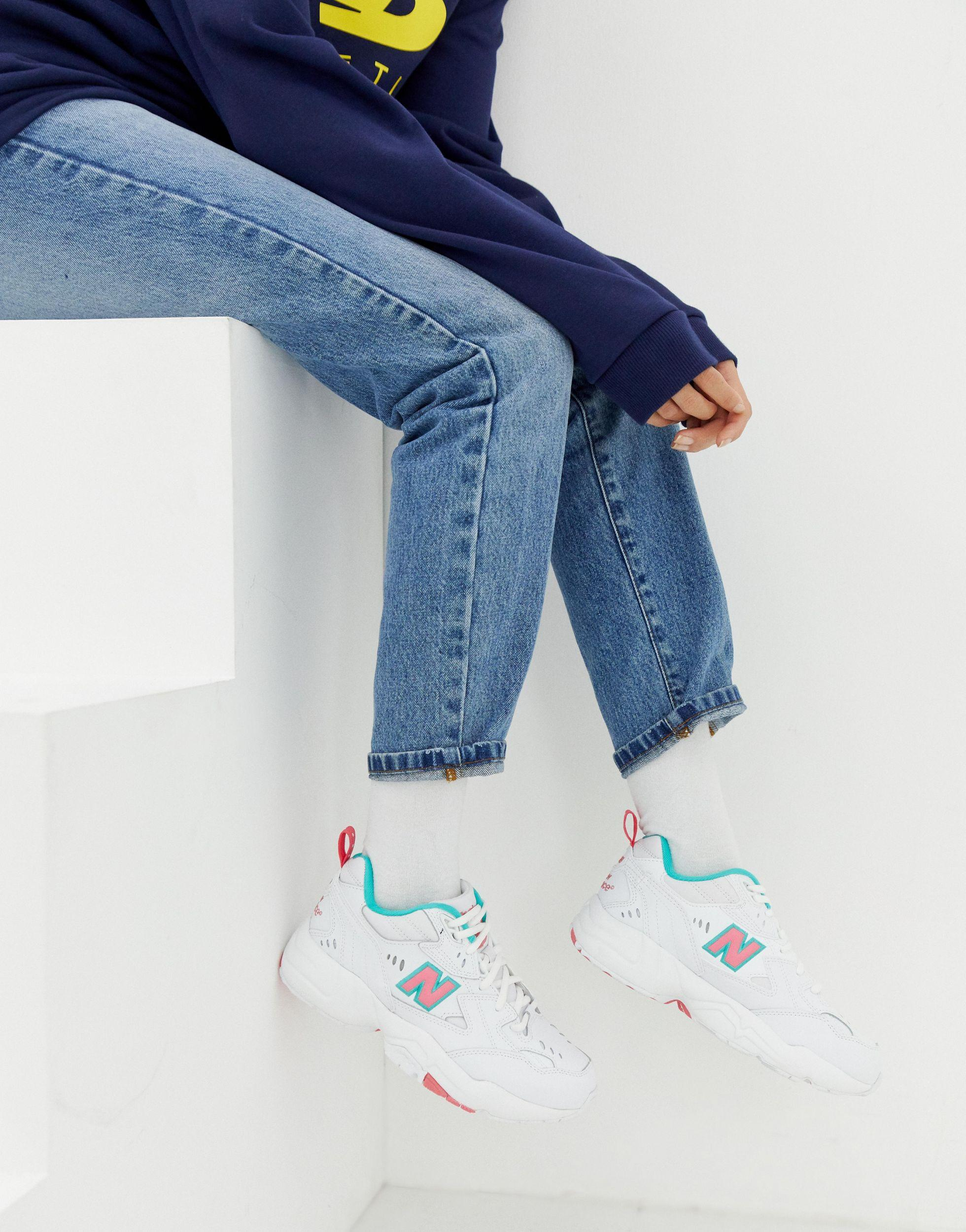 Pink And Green Chunky Trainers in Blue