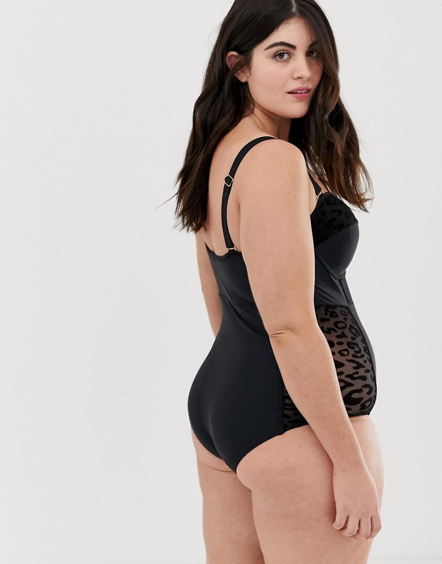 98048dd720 Lyst - Lost Ink Plus Size Corset Style Swimsuit in Black