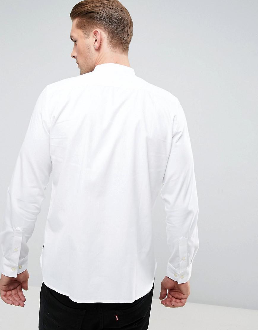 French Connection Katoen Slim-fit Overhemd Zonder Kraag in het Wit voor heren