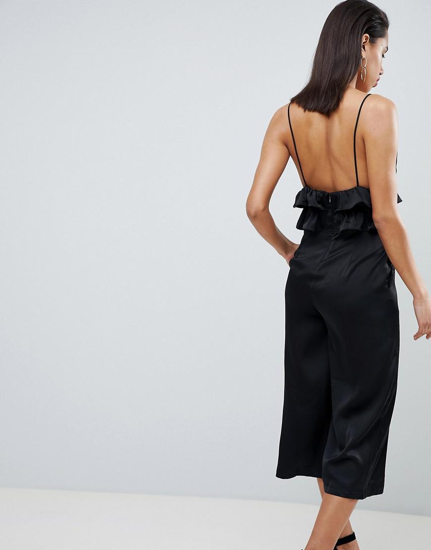 0eebd74998ee Vila Satin Ruffle Cami Jumpsuit in Black - Lyst