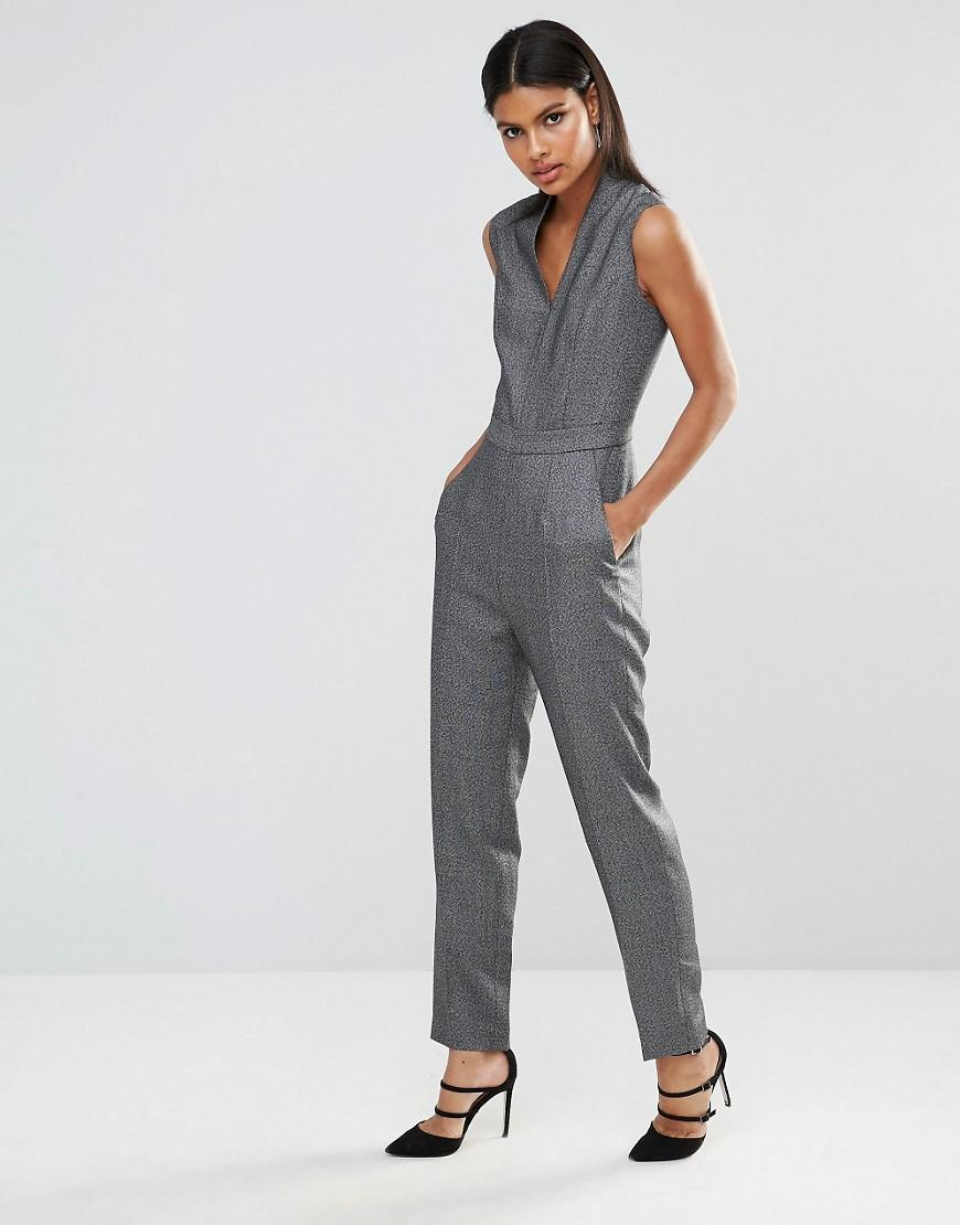 4ede6acad0a Lyst - Reiss Gabrielle Salt And Pepper Jumpsuit in Gray