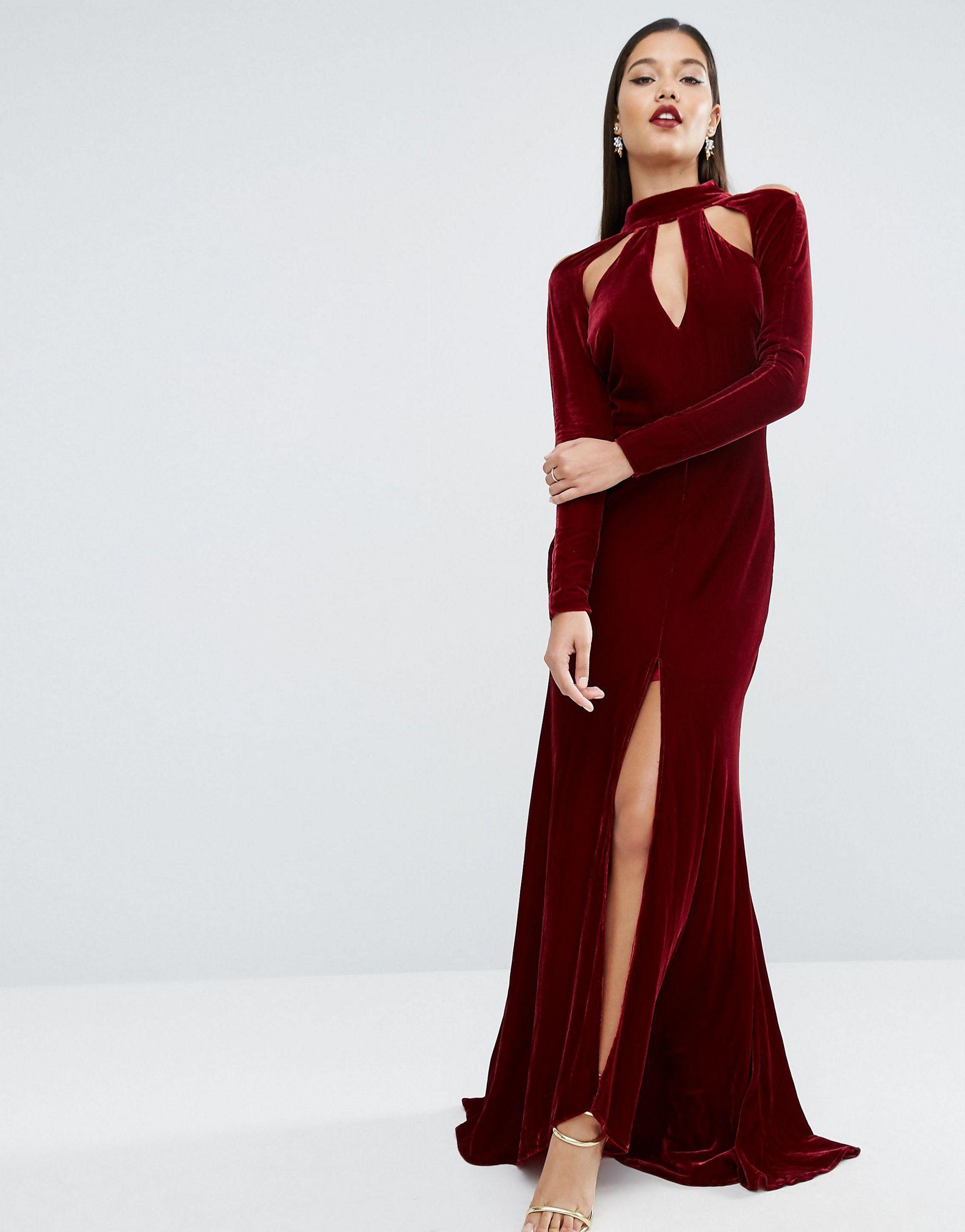 1a2a18ace0 ASOS Red Carpet Velvet Keyhole Fishtail Maxi Dress in Red - Lyst