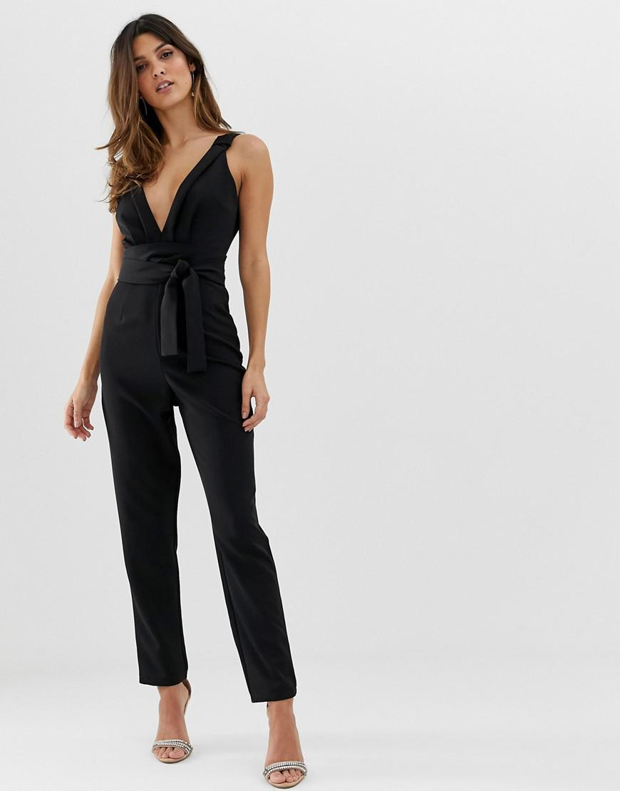 38eb68741a60 Lyst - ASOS Wrap Front Jumpsuit With Peg Leg And Knot Detail in Black