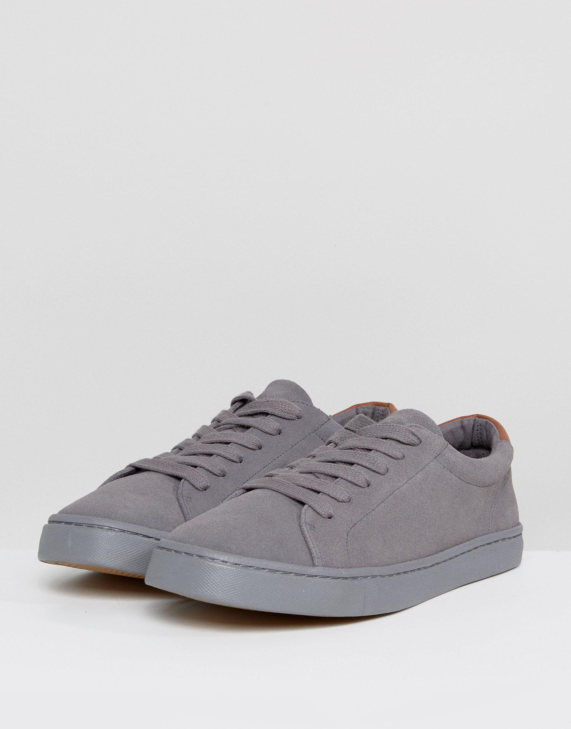 ASOS Suède Sneakers Met Veters Van Echt Suède in het Grijs voor heren