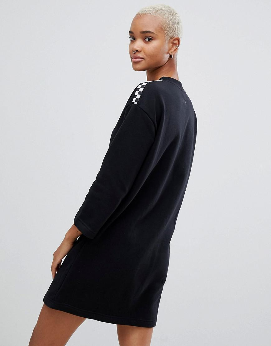 Damier Sweat Motif Shirt En Black Avec Robe Vans Coloris Manches LSUMpGVzq
