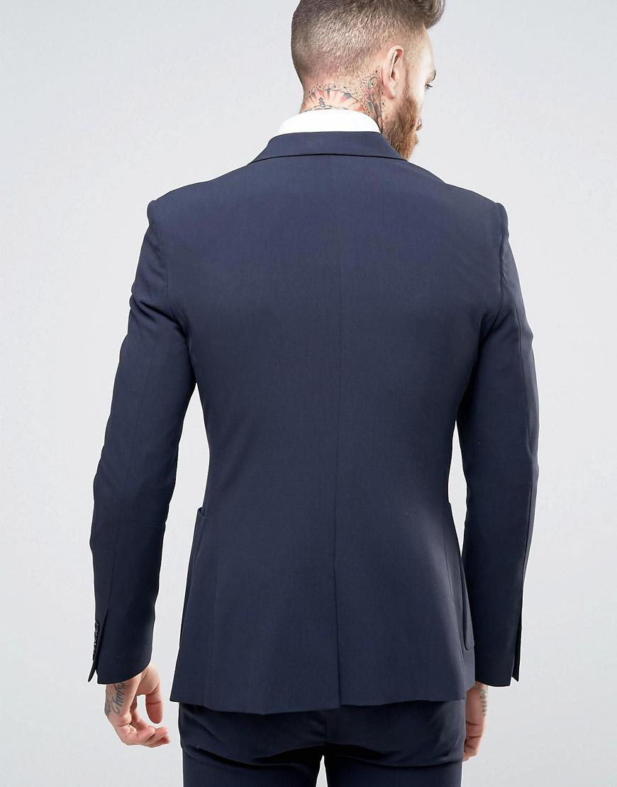 ASOS Synthetic Super Skinny Double Breasted Suit Jacket in Navy (Blue) for Men