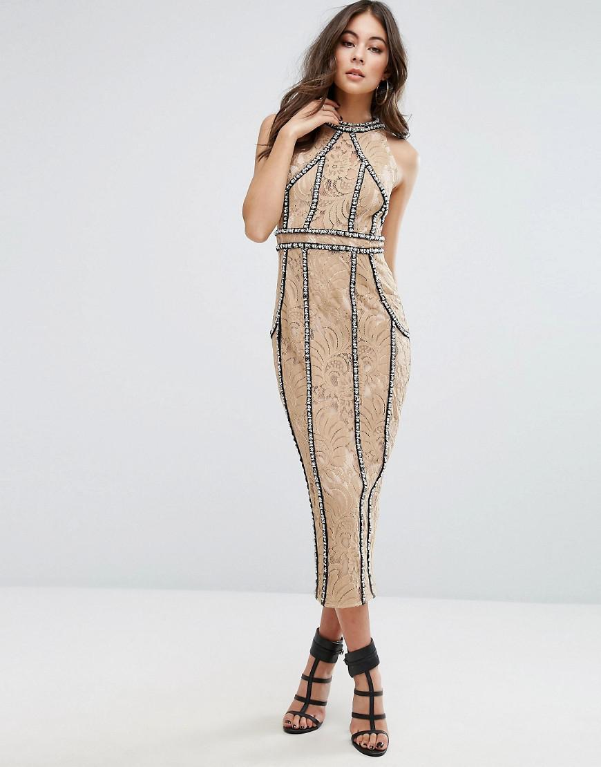 e4d22a073e0f70 PrettyLittleThing Premium All Over Embellished Halterneck Midi Dress ...