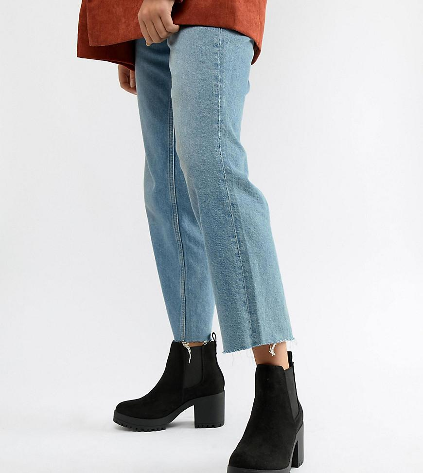 Wide Fit Chunky Heeled Chelsea Boots