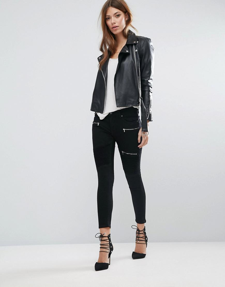 Mango Denim Zip Detail Skinny Jeans in Black