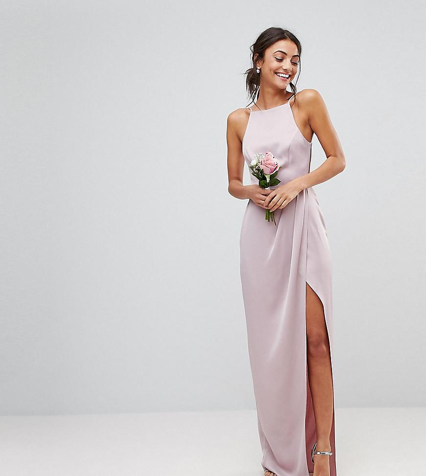 923776ab72a295 Lyst - ASOS Asos Design Tall Drape Front Strappy Back Maxi Dress in Pink