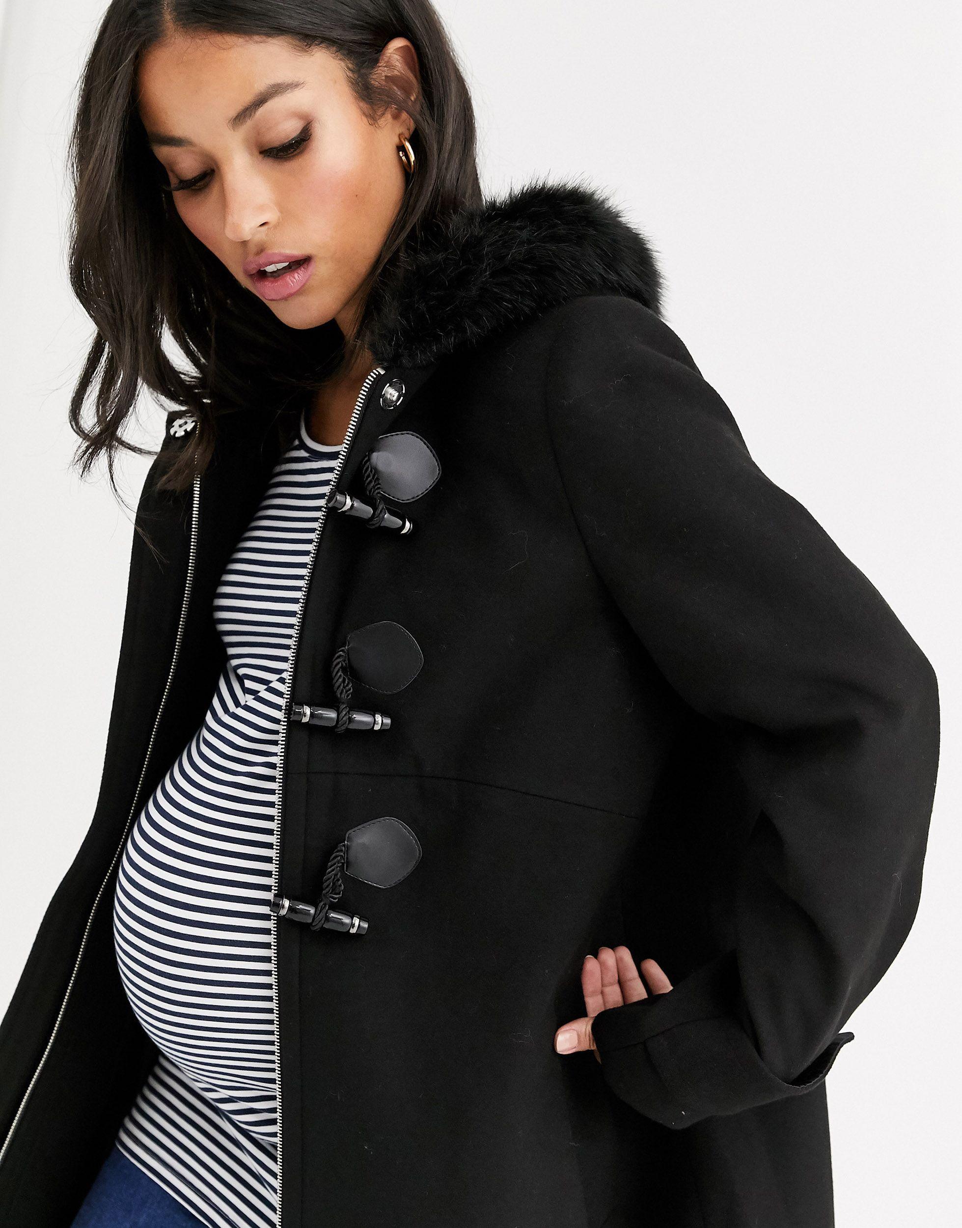 ASOS DESIGN Maternity - Duffle-coat avec bordure en fausse fourrure Synthétique ASOS en coloris Noir