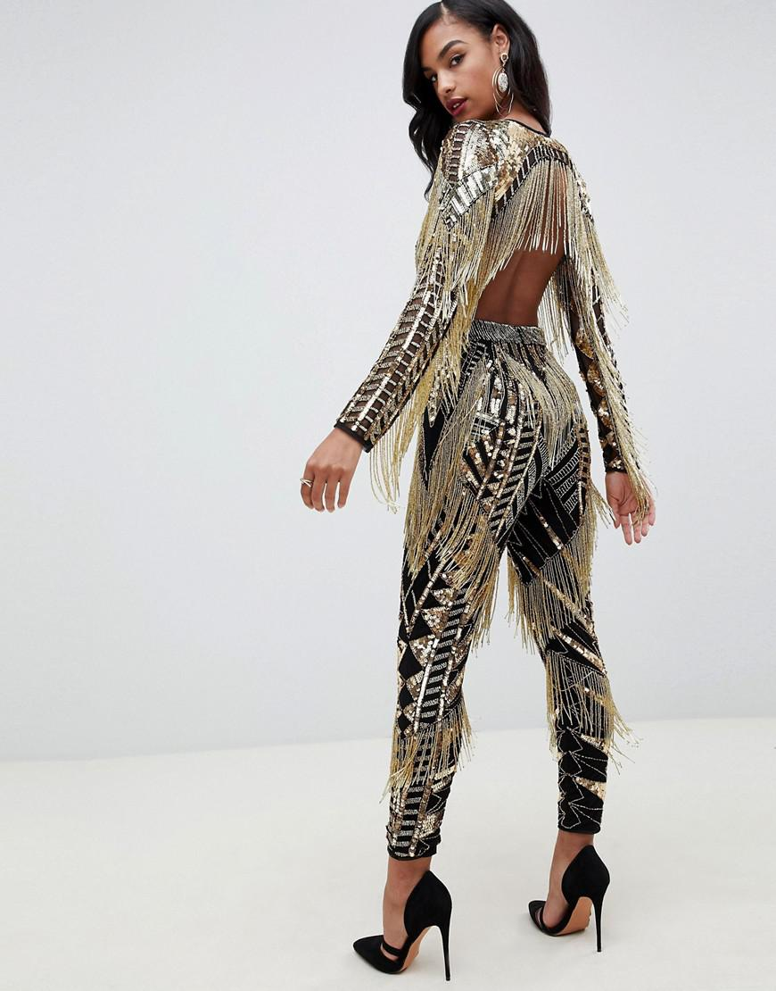 4e412a8cc96e ASOS Sequin   Fringe Cut Out Jumpsuit - Lyst