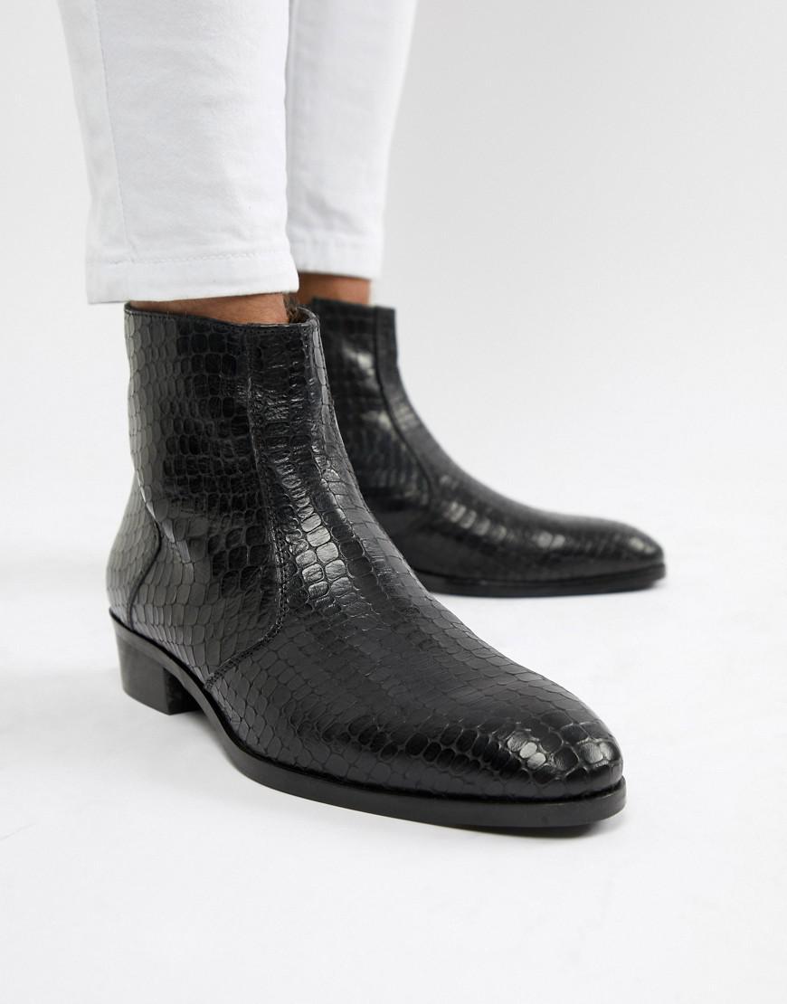 Dune Cuban Heel Chelsea Boots In Black Croc in Black for Men - Lyst 777ccf437