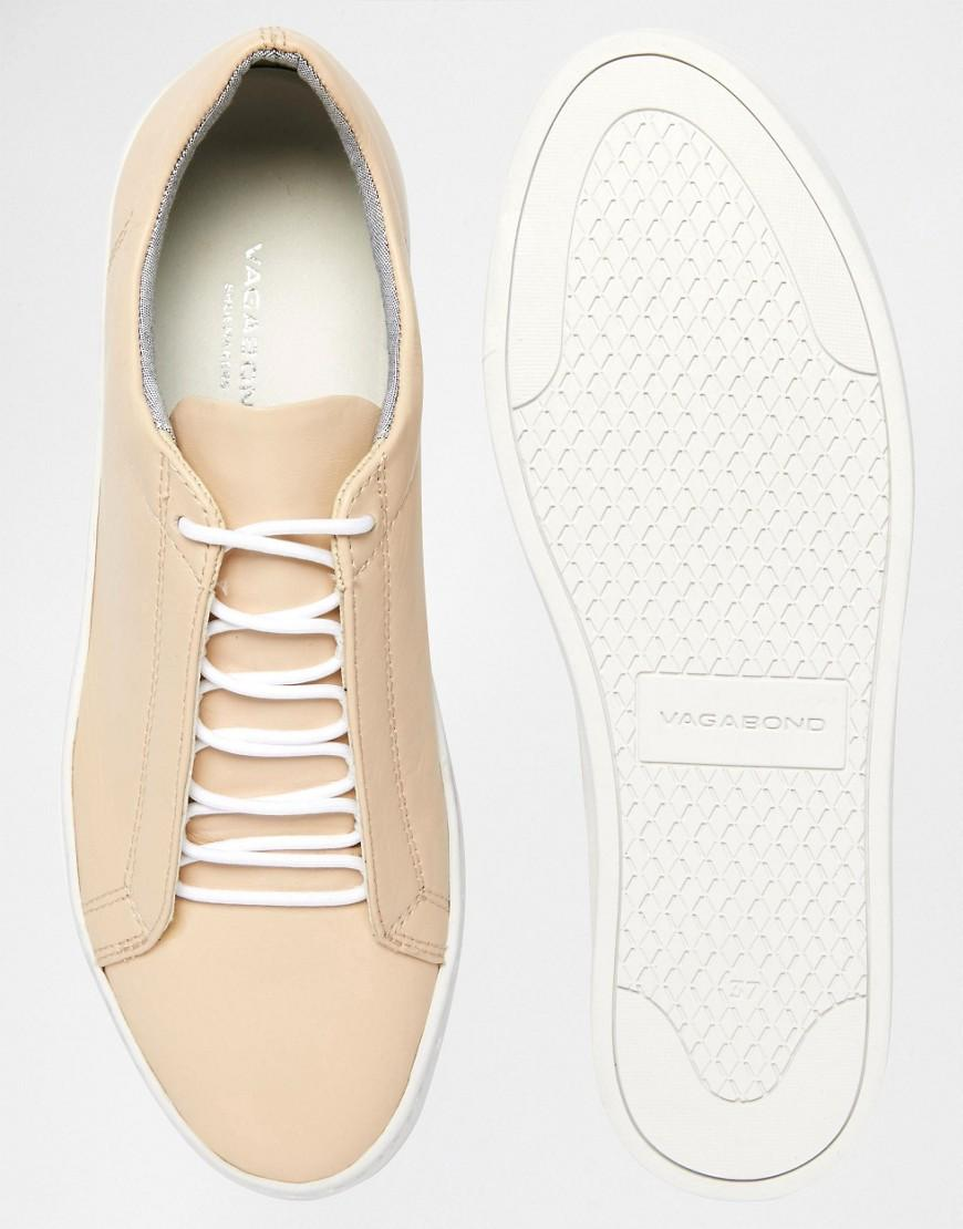 Vagabond Zoe Leather Nude Lace Up Trainers in Beige (Natural)