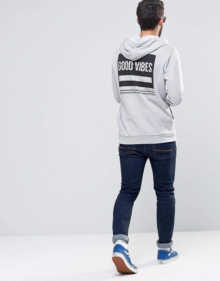 ASOS Cotton Hoodie With Good Vibes Back Print in Black for Men