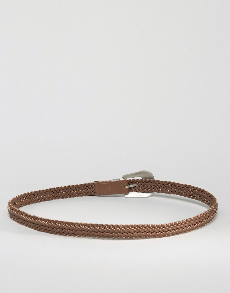 asos leather plaited western belt in brown lyst