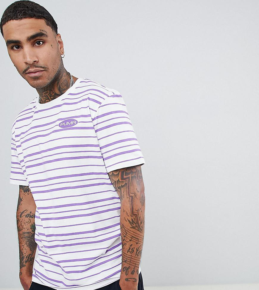 38788ac1c3b9 PUMA - Organic Cotton Retro Stripe T-shirt In Purple Exclusive At Asos for  Men. View fullscreen