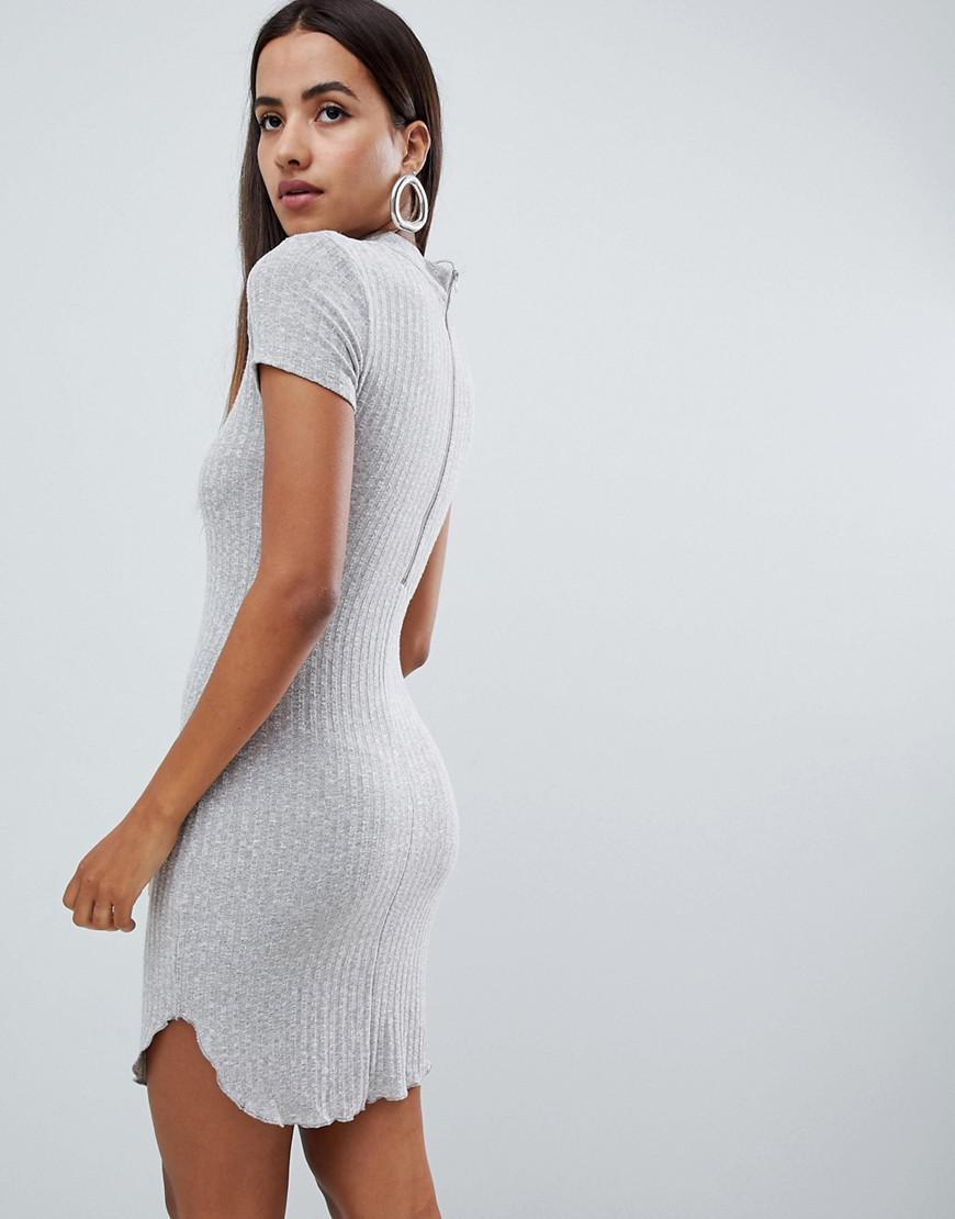 AX Paris Ribbed Short Sleeve Dress With Curved Hem in Metallic - Lyst b4a3571dd