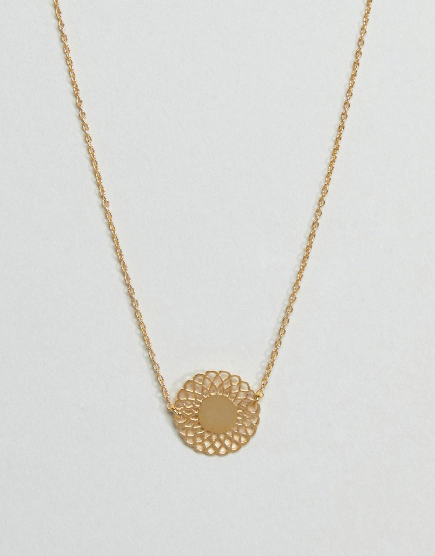 ASOS Denim Gold Plated Sterling Silver Fine Filigree Disc Necklace in Metallic