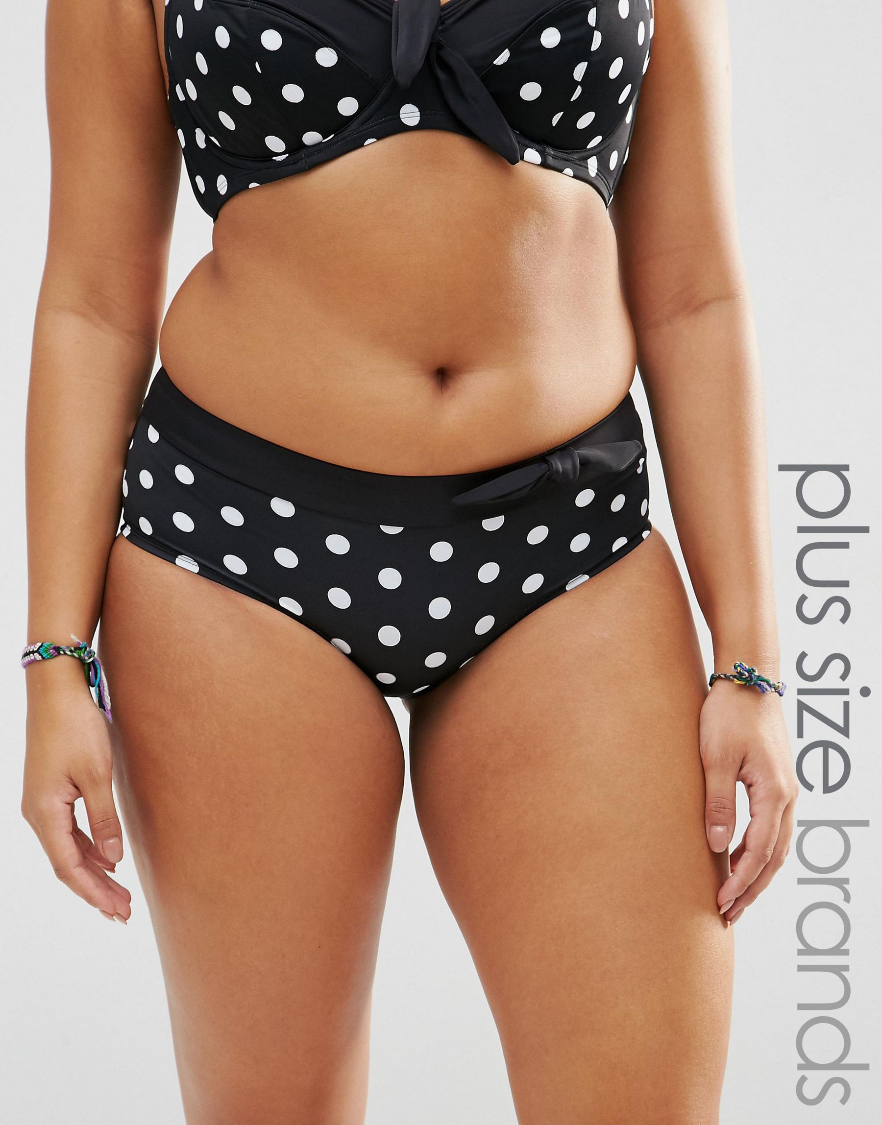 Polka Dot Ruffles Red White Stripes Marie Meili Bikini Swim Top
