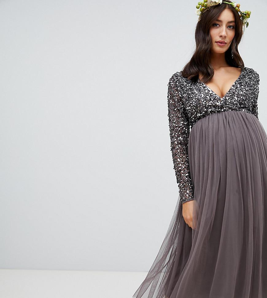 c17c254045 Maya Long Sleeved Maxi Dress With Delicate Sequin And Tulle Skirt Grey