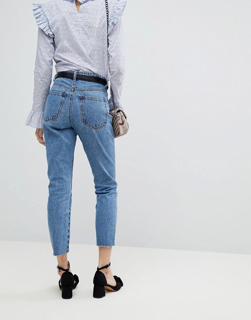 Lost Ink Denim Raw Hem Slim Mom Jeans With Pearl Trims in Blue