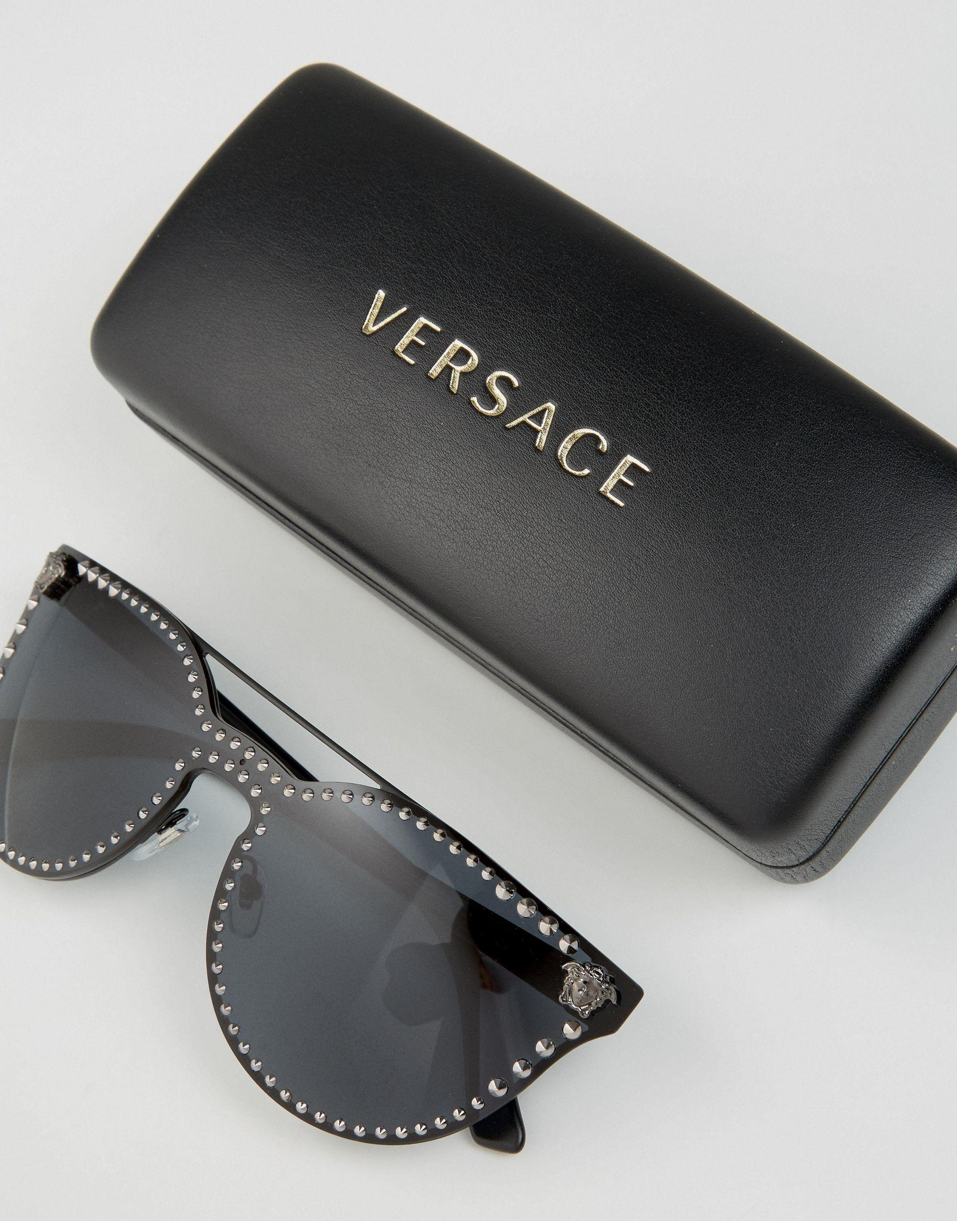 Versace Cateye Sunglasses With Metal Brow Bar And Studding in Black